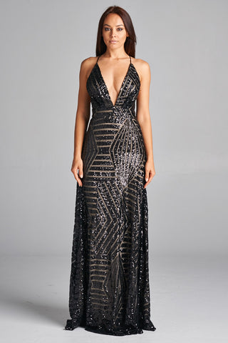 Midnight Wish V-Neck Sequin Long Dress - Prom And Bridal Dress House