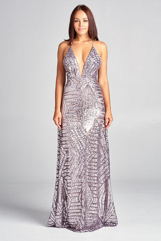 V-Neck Sequin Long Open Back Evening Dress