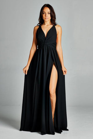 V Neck Long Side Slit Dress
