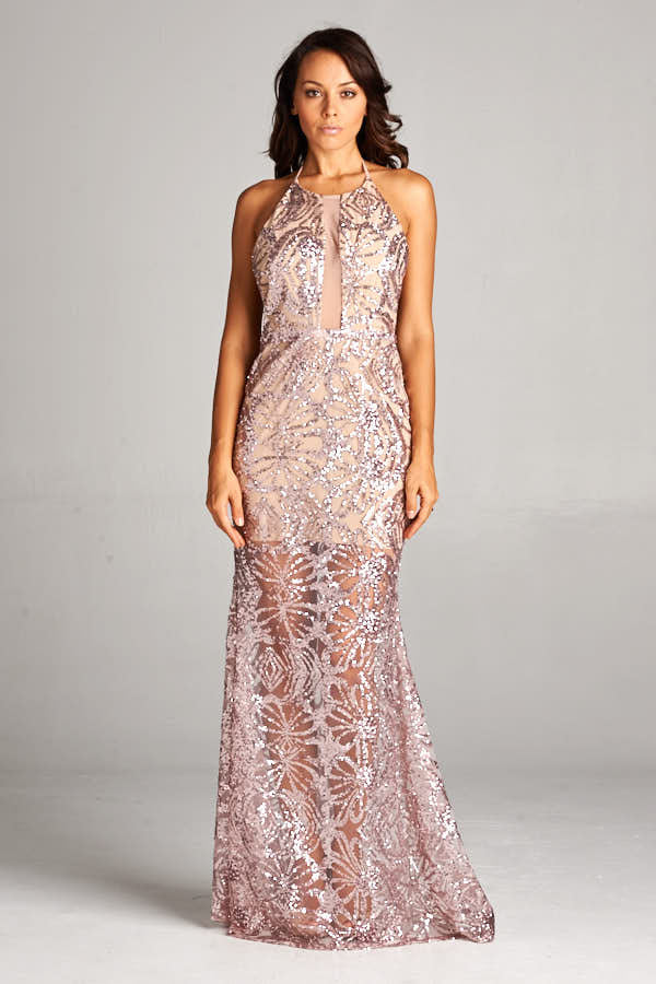 Halter Neck Sequin Maxi Dress - Prom And Bridal Dress House
