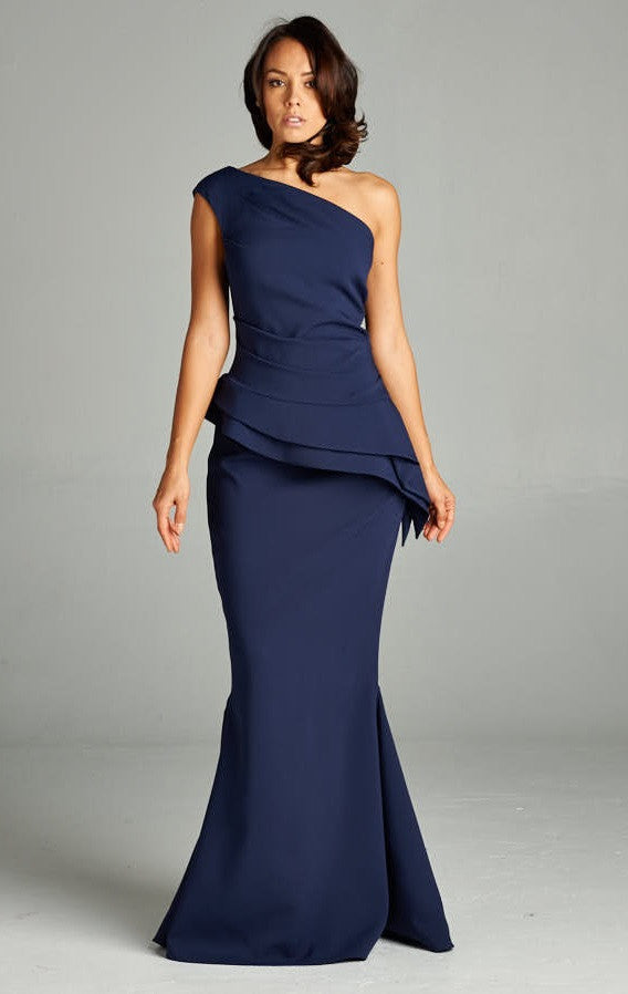 One Shoulder Beauty and Grace Navy Blue Long Dress - Prom And Bridal Dress House