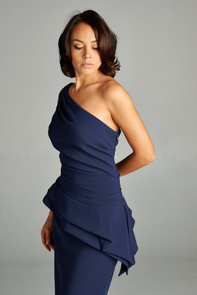 One Shoulder Beauty and Grace Navy Blue Long Dress