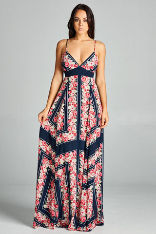 All Mine Navy Blue Floral Print Maxi Dress - Prom And Bridal Dress House