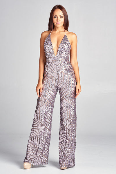 Attention Please V-Neck Sequin Jumpsuit - Prom And Bridal Dress House