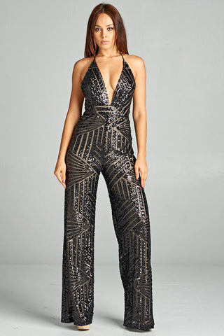 Black Sequin Jumpsuit - Prom And Bridal Dress House