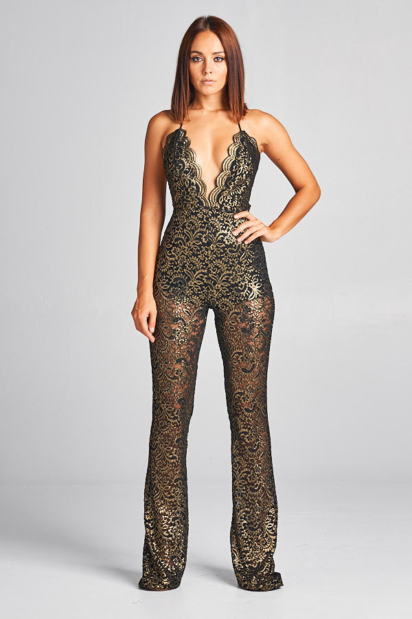 Lace Gold Jumpsuit - Prom And Bridal Dress House