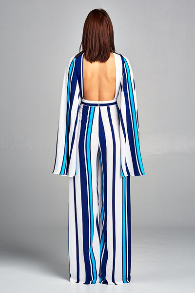 Long Sleeve Striped Jumpsuit - Prom And Bridal Dress House