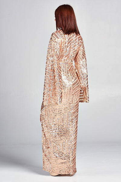 Long Sleeve Sequins Maxi Dress - Prom And Bridal Dress House