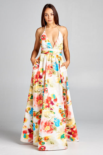 Printed Pazaz Long Dress - Prom And Bridal Dress House