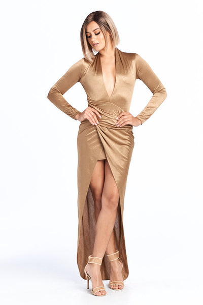 Hollywood Glam V-Neck Long Sleeve Dress - Prom And Bridal Dress House