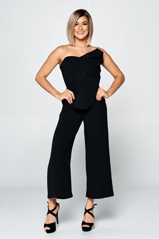 Stripeless Formal Black Jumpsuit