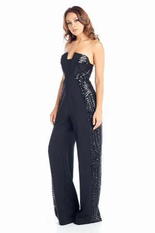 Dazzle Me Jumpsuit Black Jumpsuit with Sequin Details - Prom And Bridal Dress House