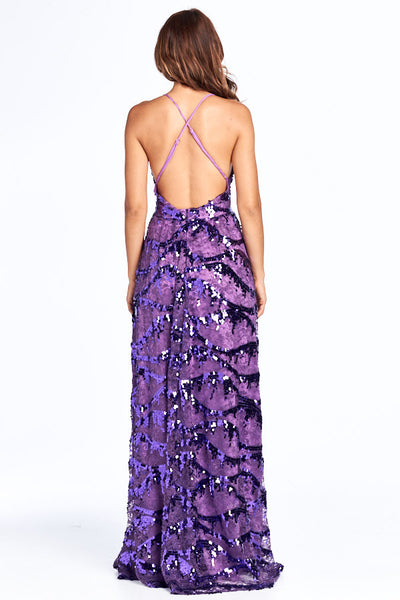 All Things Night  Sequin V-Neck Long Purple Dress - Prom And Bridal Dress House