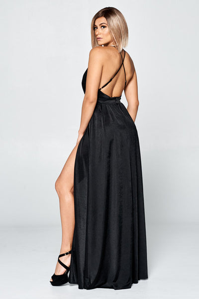 V-Neck Open Back Long Night Out Dress
