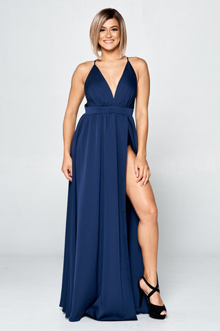 V-Neck Long Cocktail Dress