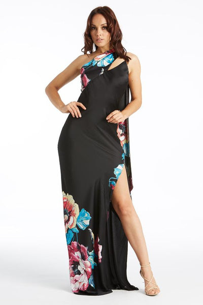 Lost in Paradise Floral Print One Shoulder Maxi Dress - Prom And Bridal Dress House