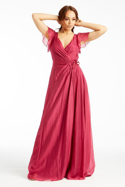 Short Sleeve Wrap Maxi Dress