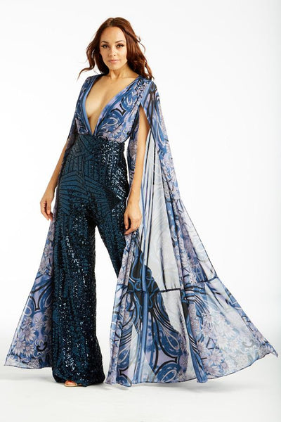Angel Wing Navy Sequin Jumpsuit - Prom And Bridal Dress House