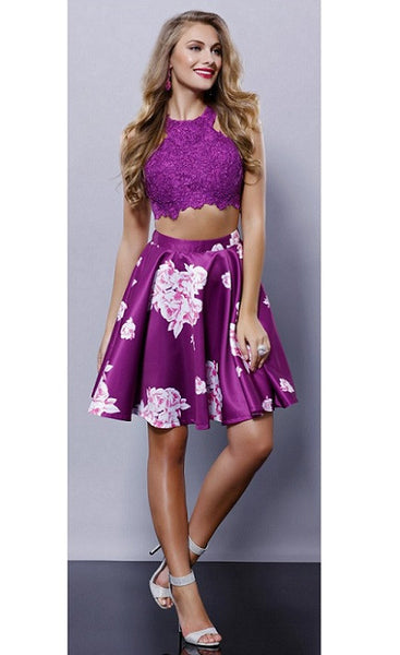 Two Pieces Prom Evening Short Dress
