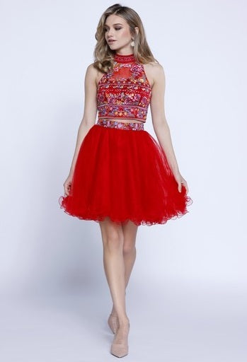 Halter Short Tulle Cocktail Dress - Prom And Bridal Dress House