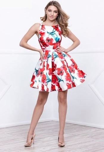 Printed Short Cocktail Dress - Prom And Bridal Dress House