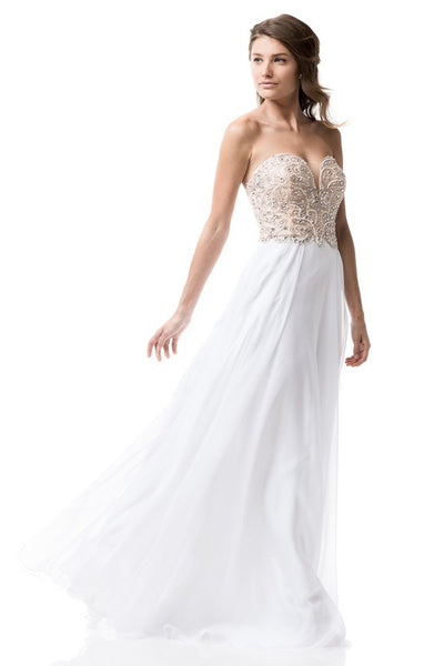 AG Studio Evening Prom White Dress - Prom And Bridal Dress House