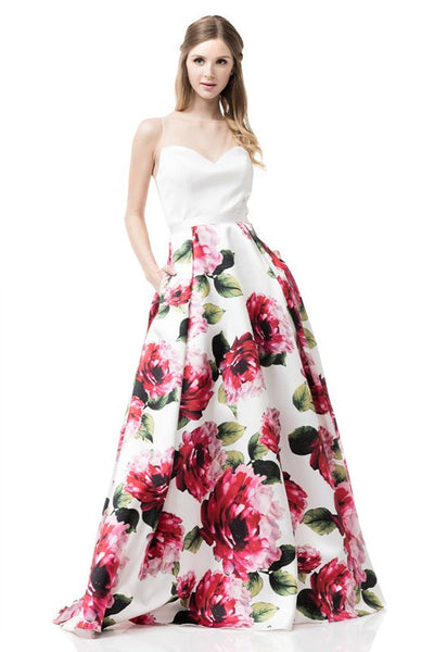 Evening Prom Dress With Printed Skirt - Prom And Bridal Dress House