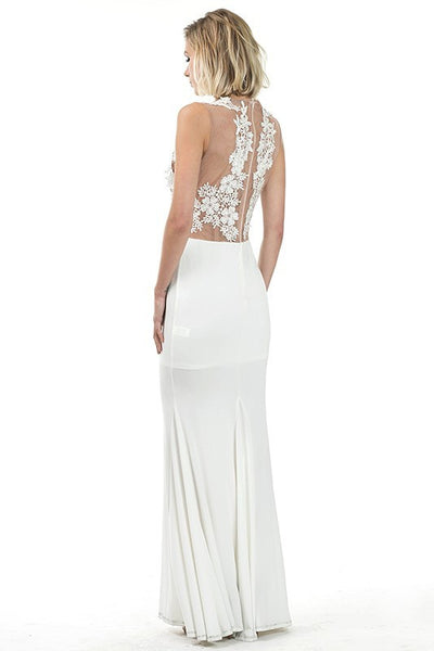 Lace & Mesh Applique Maxi Gown - Prom And Bridal Dress House