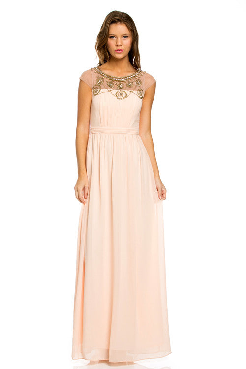Short Sleeve Jeweled Empire Maxi Dress - Prom And Bridal Dress House