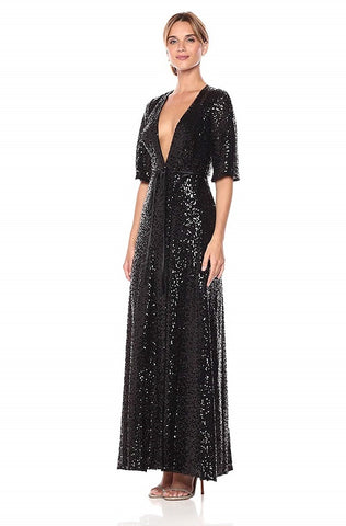 Aidan by Aidan Mattox Surplice Neck Tie Waist Split Sleeve Sequin Dress - Prom And Bridal Dress House