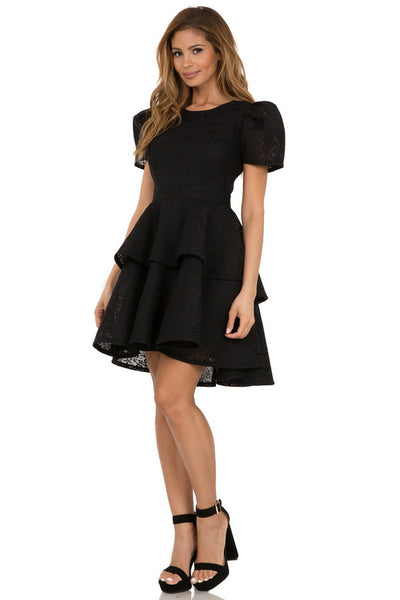 Puffy short sleeve tiered lace skater dress
