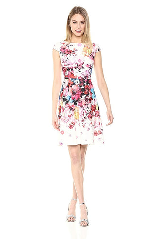 Adrianna Papell Boat Neck Cap Sleeve Zipper Back A-Line Floral Stretch Crepe Dress - Prom And Bridal Dress House