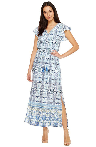 Adrianna Papell V-Neck Short Sleeve Tie Neck Blouson Paisley Dress - Prom And Bridal Dress House