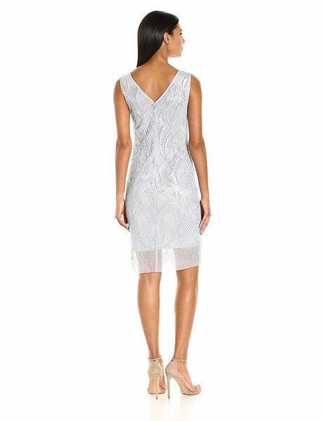 Adrianna Papell Scoop Neck Sleeveless Zipper Back Embellished Mesh Dress - Prom And Bridal Dress House