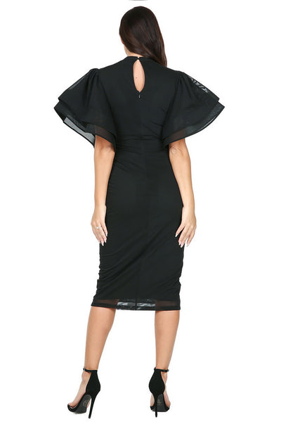 Wide ruffle layer sleeve fitted midi dress