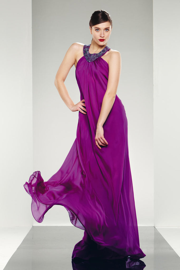 Theia Evening Long Dress T Back Strap Beaded Silk Chiffon – Prom And ...