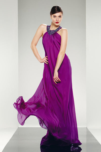 Theia Evening Long Dress T Back Strap Beaded Silk Chiffon - Prom And Bridal Dress House