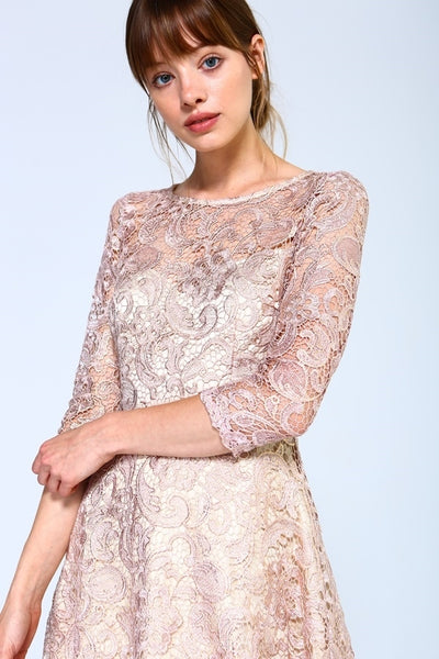 Shimmer Lace Fit And Flare With 3/4 Sleeves