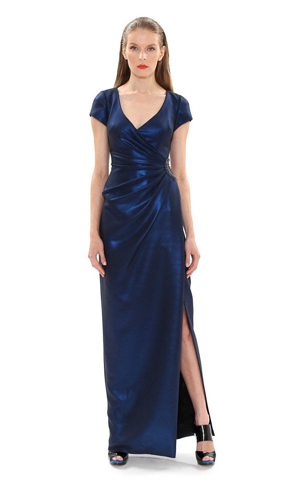 Theia Surplice Neck Short Sleeve Embellished Gathered Side Solid Iridescent Satin Dress