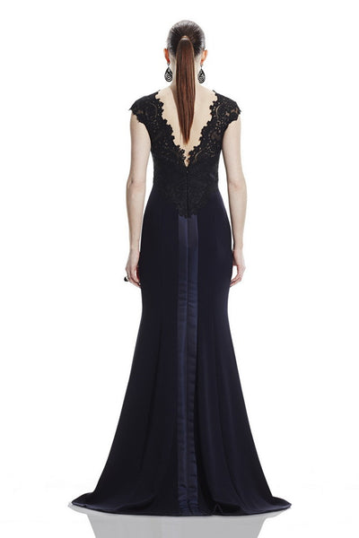 Theia Crew Neck Cap Sleeve Zipper Back Lace Bodice Trumpet Crepe Dress