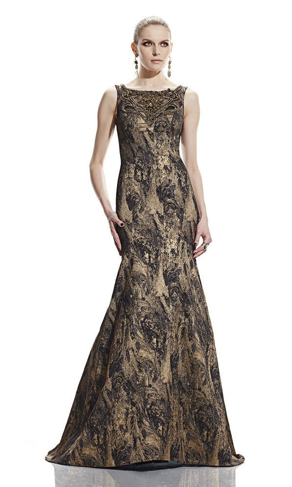 Theia Boat Neck Embellished Front Sleeveless Metallic Jacquard Trumpet Dress