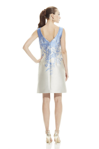 Theia Boat Neck Sleeveless Zipper Back Multi Print Jacquard Dress - Prom And Bridal Dress House