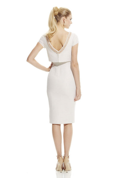 Theia Boat Neck Embellished Waist Short Sleeve Popover Mettalic Ottoman Dress - Prom And Bridal Dress House
