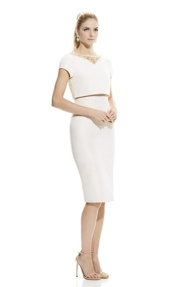 Theia Boat Neck Embellished Waist Short Sleeve Popover Mettalic Ottoman Dress