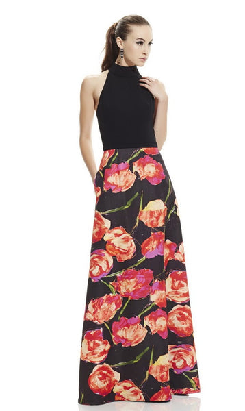 Theia Halter Neck Cutout Back Box Pleat Floral Print Stretch Crepe & Ottoman Dress