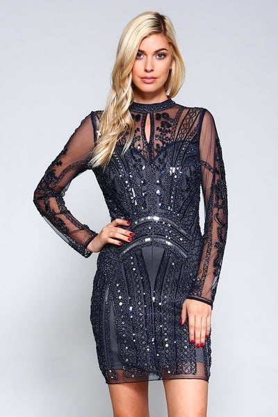 Jeweled Sequin Dress With Long Sleeve - Prom And Bridal Dress House