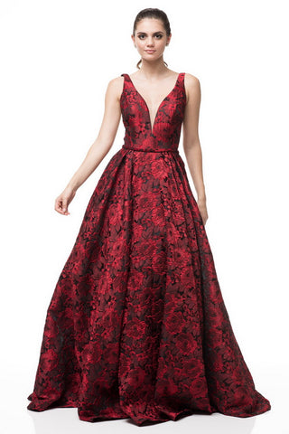 V-Neck Sleeveless A-Line Jacquard Evening Dress With Side Pockets