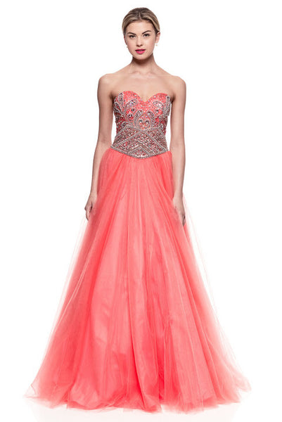 Long Prom Coral Evening Dress - Prom And Bridal Dress House