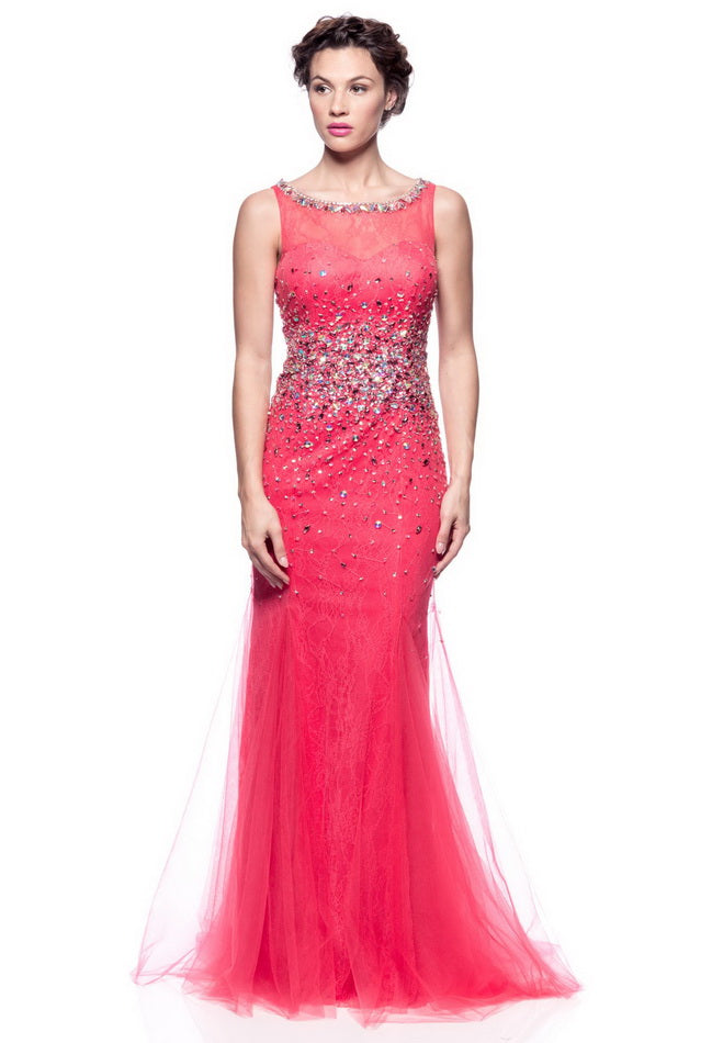 Watermelon Long Evening Dress