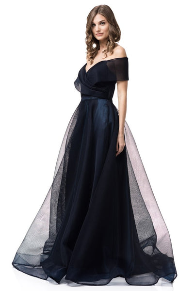 Off Shoulder Navy Evening Ball Gown